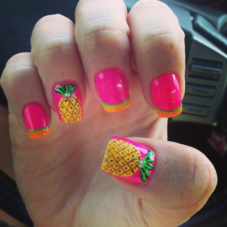 tropical, bright pink, pineapple, yellow, orange, green
