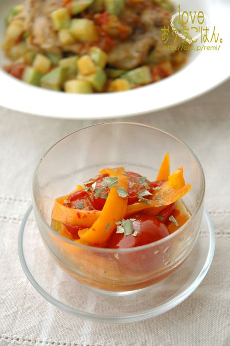 ミニトマトとカラーピーマンのマリネ。   美肌レシピ