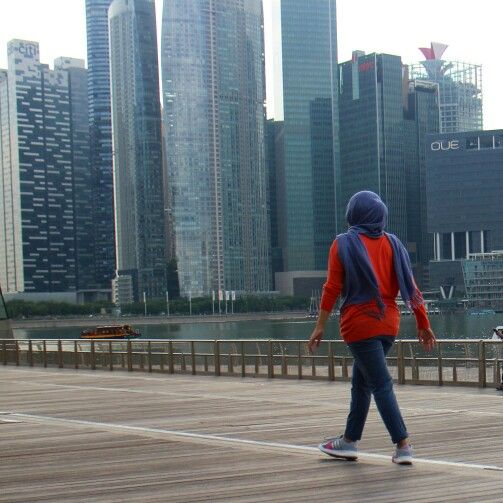 Sporty hijab style Adidas and hush puppies