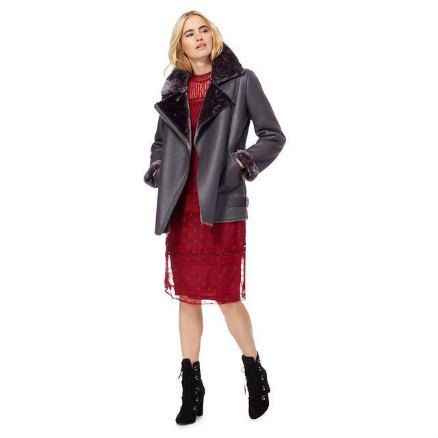Grey faux fur collar aviator coat