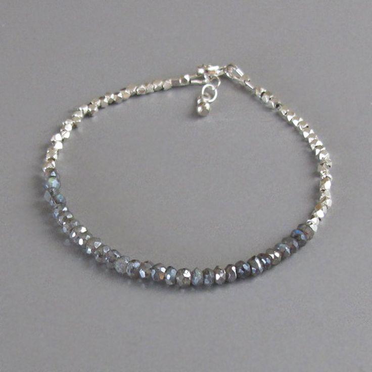 Silver Bead Mystic Labradorite Bracelet DJStrang Dainty Tiny
