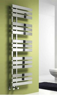 This gorgeous steel heated towel rail looks amazing!! The green wall is optional though