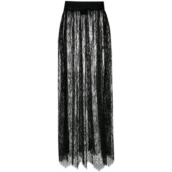 Andrea Bogosian lace long skirt (19.044.465 VND) ❤ liked on Polyvore featuring skirts, black, straight skirt, elastic waistband skirt, long lace skirt, lace maxi skirts and elastic waist skirt