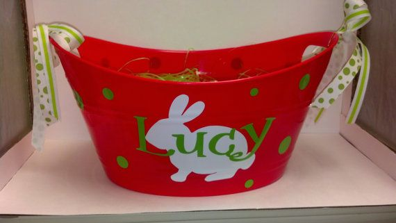 Easter gift baskets Personalized Monogrammed Easter Basket Tub, $10.00  Easter Baskets for the boys!