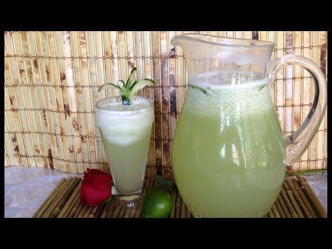 Agua fresca de pepino y limón verde.