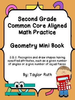 2.G.1 Geometry Practice Book: Second Grade Common Core Aligned - Taylor Ruth - TeachersPayTeachers.com