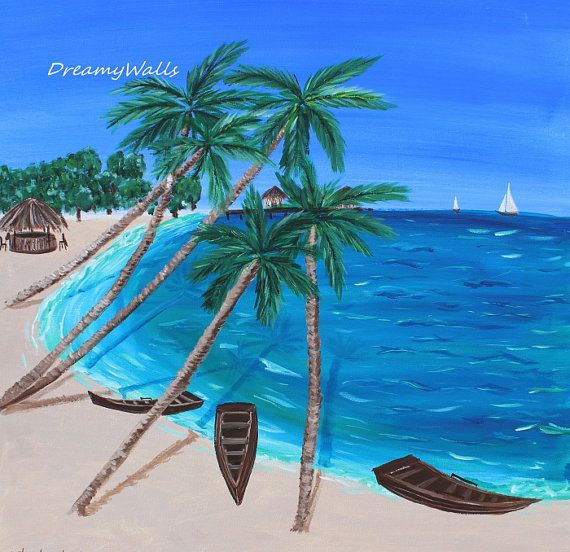 tropical painting palm tree art beach painting by DreamyWalls, $125.00