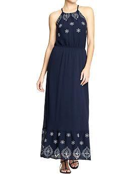 Womens Crinkle-Gauze Eyelet Maxi Dresses