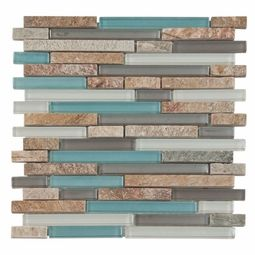 Our Santiago glass and stone mixed mosaics is the most serene of our stick mosaics. It blends frosted metallic glass in pearl, aqua and silver all muted in color tones, polished silver glass and split face stone. Blended glass mosaics are ideal for most applications, both Interiors and out. It makes a striking backsplash accent for your kitchen or brings a modern touch to your bath or fireplace surround.