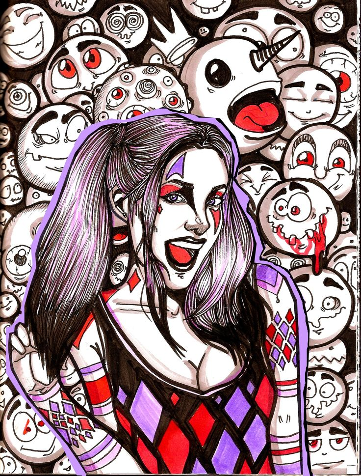 Harley Quinn  ink and markers on paper