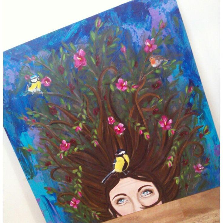 Tuinschilderij Three little birds 80x80cm Op hout geschilderd Www.creativeartbyjessica.nl #tuinschilderijen #tuindecoratie #schilderij #painting #art #kunst #bohemian #acryl #decoratie #garden #vogels #tuinvogels #bloemen #vrouw #artwork #boho #bohostyle #hippie #hippieart #bohochic #ibiza #ibizastyle