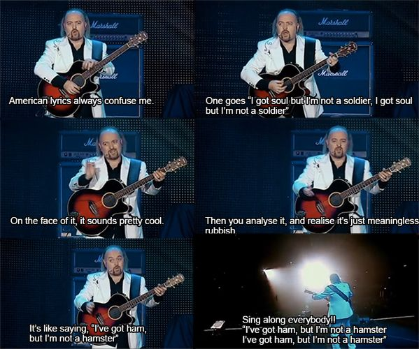 When he took the piss out of The Killers, and American music in general. | 22 Times Bill Bailey Made You Laugh More Than You Should