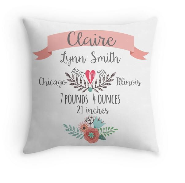 Birth Announcement Pillow - Personalized Baby Pillow - Baby Gift - Girl Nursery Decor -Pink by mallorylynndecor on Etsy https://www.etsy.com/listing/263131954/birth-announcement-pillow-personalized