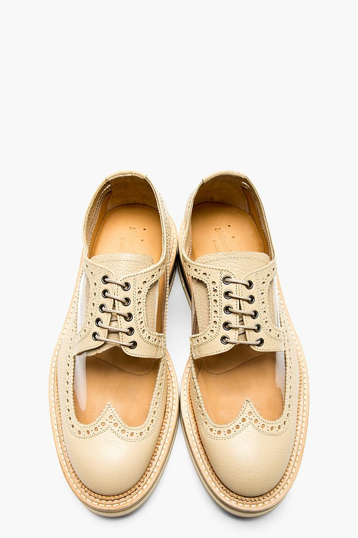 GIULIANO FUJIWARA Beige Leather Cut-out longwing Brogues