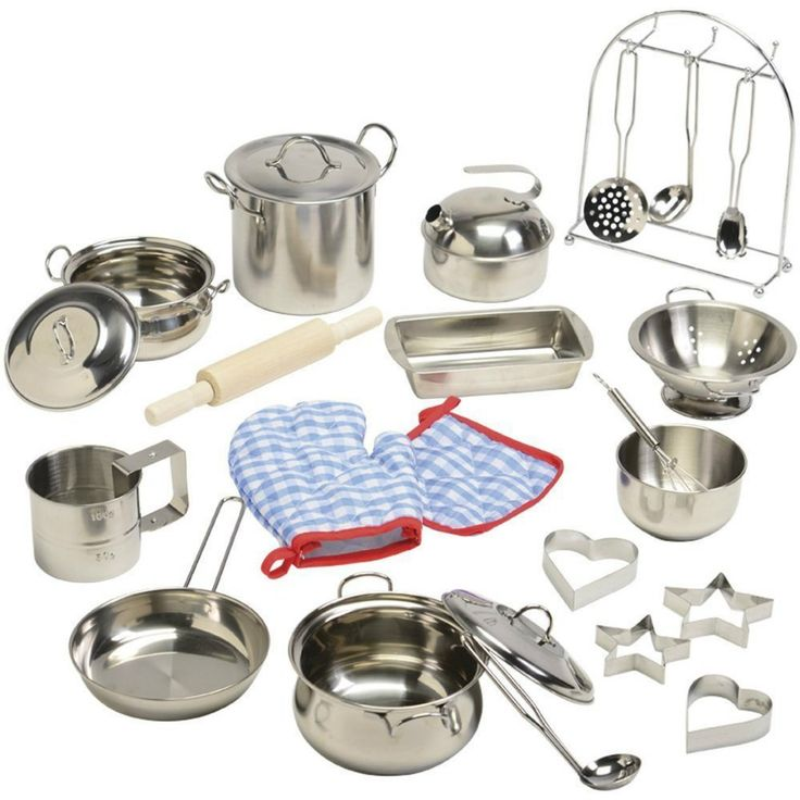 Play Kitchen Accessories Pots And Pans Kids Stainless Steel Cookware Pretend NEW Product Description: Just like grown-ups, kids want the best cookware in their pretend kitchens. This stainless steel s