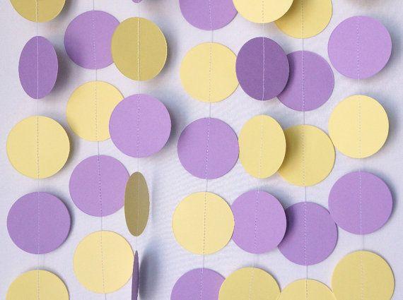 Light Purple and Yellow Garland Baby Shower Decoration 1st Birthday Party Birthday Decor