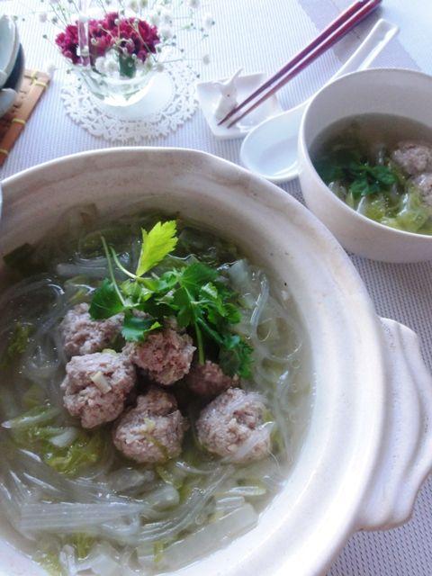 たっぷりショウガの鶏団子と白菜のスープ鍋