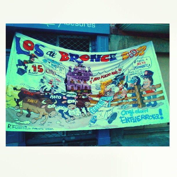 """Instagram photo by @rockflores via ink361.com """"Pancarta"""" Peña Los de Bronce, public presentation."""
