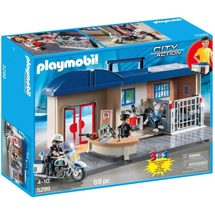 Playmobil City Action Take Along Police Station 5299 has a station officer who mans the well-equipped police headquarters. But watch out, the robber has broken through the bars and is getting away! A traffic officer chases after him on his motorcycle and brings him in.