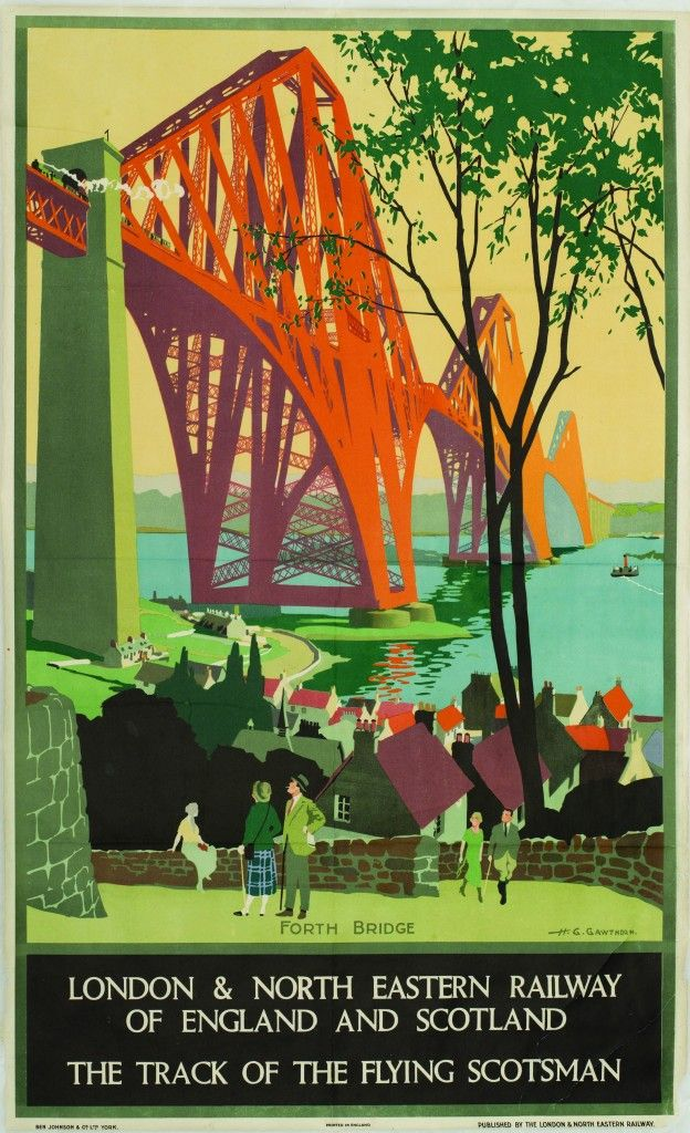 Forth Rail Bridge poster from 1928.Scotland. The Forth Rail Bridge was opened on this day 4th March,1890 by the Prince of Wales, who later became King Edward VII. The bridge is more than one and a half miles long and took six years to build.