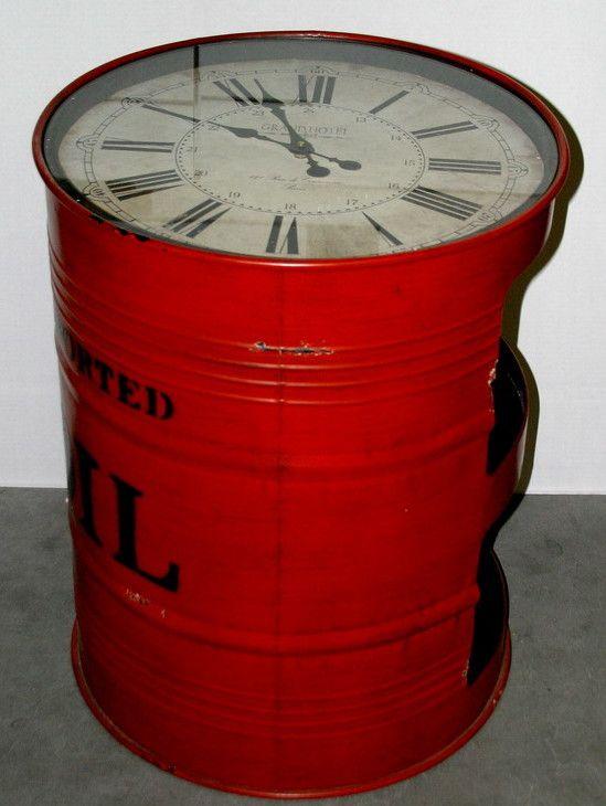 Industrial Drum Table Clock