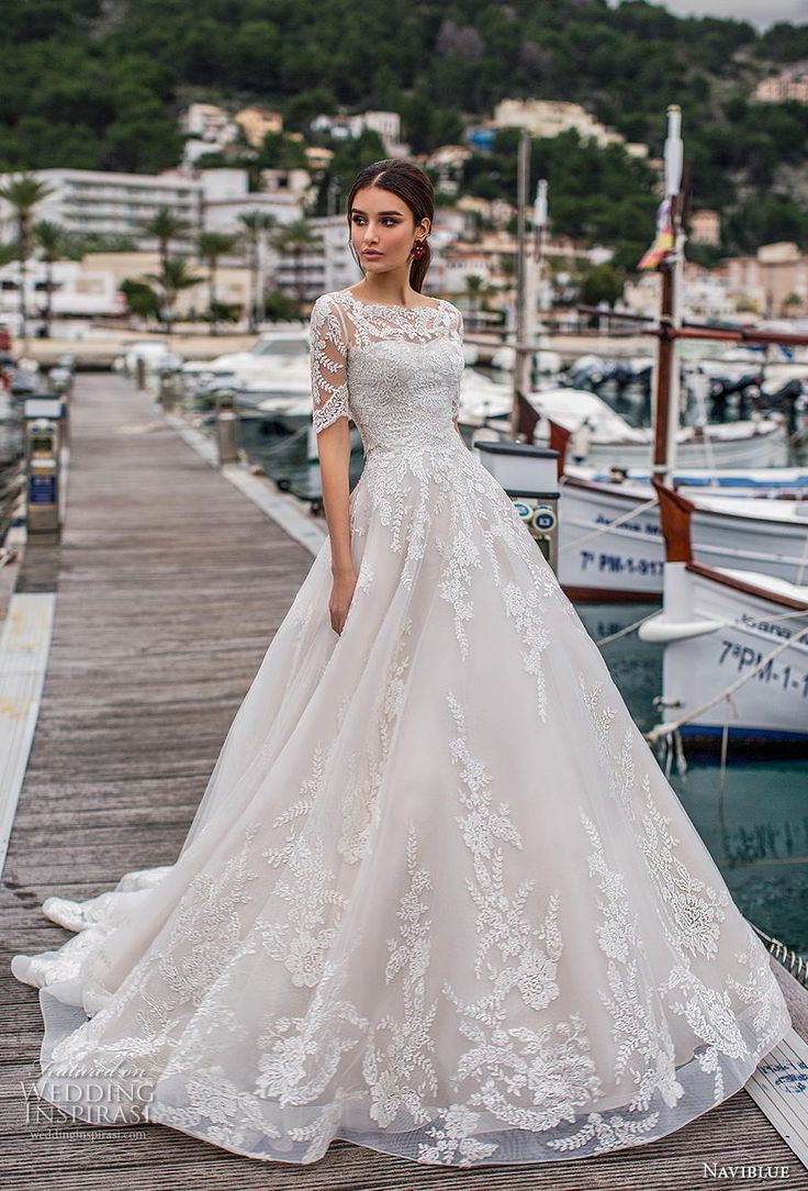 naviblue 2019 bridal half sleeves illusion bateau sweetheart neckline heavily em…