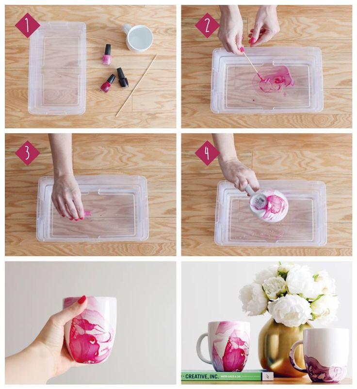 Decora tus tazas de una forma original y creativa <<< Solo necesitas esmaltes y un recipiente con agua ---> Sigue los pasos y crea sicodélicos motivos <<< #OFFCORSS