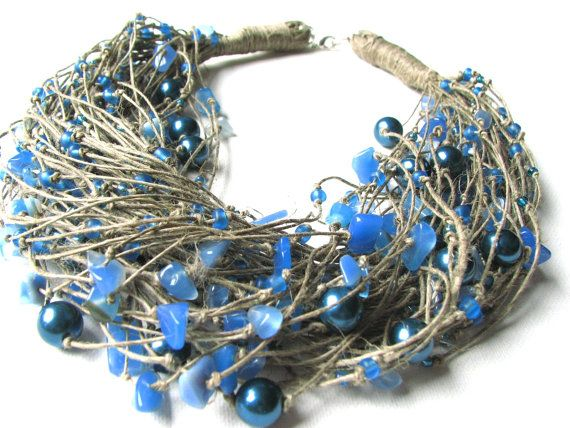 Entangled in the Blue  linen necklace by GreyHeartOfStone on Etsy