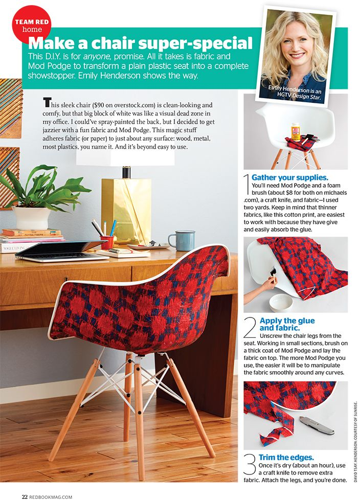 Emily Henderson shares the secret to decoupaging this amazing modern chair. It's a surprisingly easy DIY.
