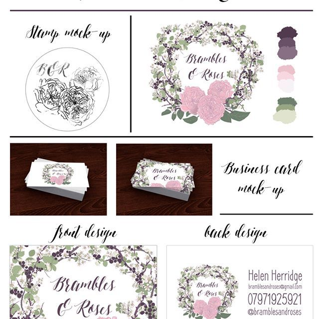 My process and #designboard for @bramblesandroses for their #branding. Its great to be able to lay all of the ideas out in once place! #torielliottillustration #toridraws  www.torielliott.co.uk #illustration #moodboard #designboard #design #brandingpackage #graphicdesign #logo #businesscard #florist #devonflorist