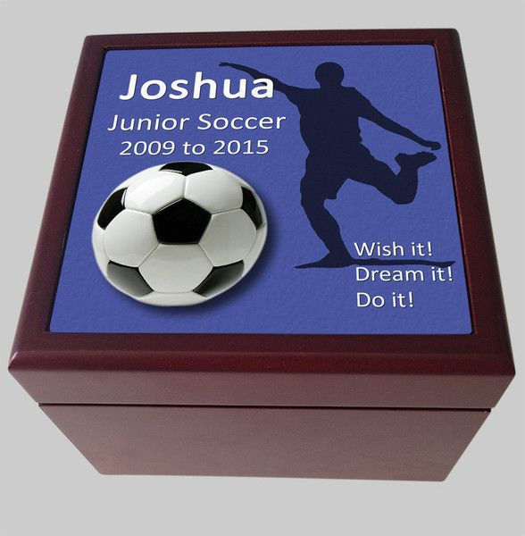 Personalised Keepsake Box, Soccer Blue