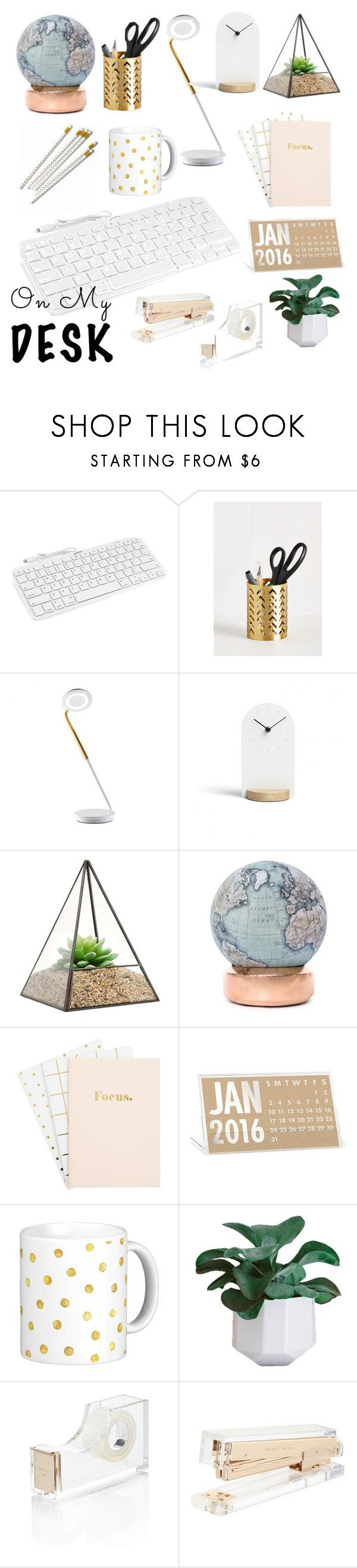 """On my Desk"" by dancebabe3 ❤ liked on Polyvore featuring interior, interiors, interior design, home, home decor, interior decorating, Minimal, Bellerby & Co, Kate Spade and onmydesk"