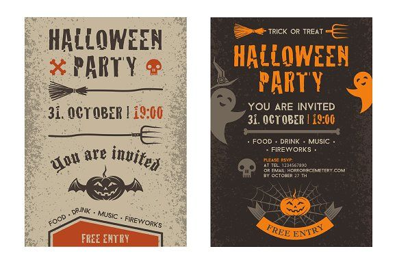 Halloween party invitation card. by valeri_si on @creativemarket
