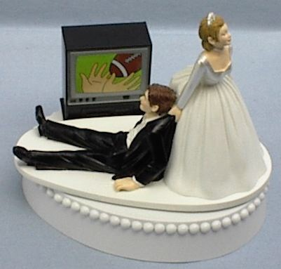 Wedding Cake Topper - Funny Big Screen TV Television Sports Football Fan Bride and Groom