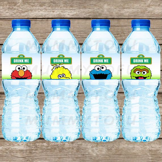Sesame Street Birthday Party Water Bottle Labels - Elmo, Big Bird, Oscar the Grouch, Cookie Monster - DIY Party Printable - Instant Download