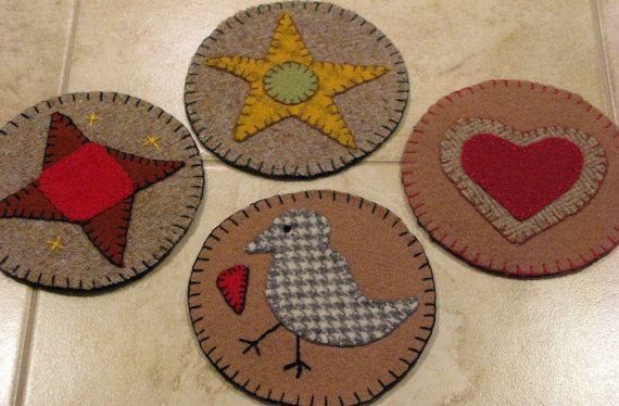 Penny rug primitive felted wool coasters mug rugs for Penny coasters