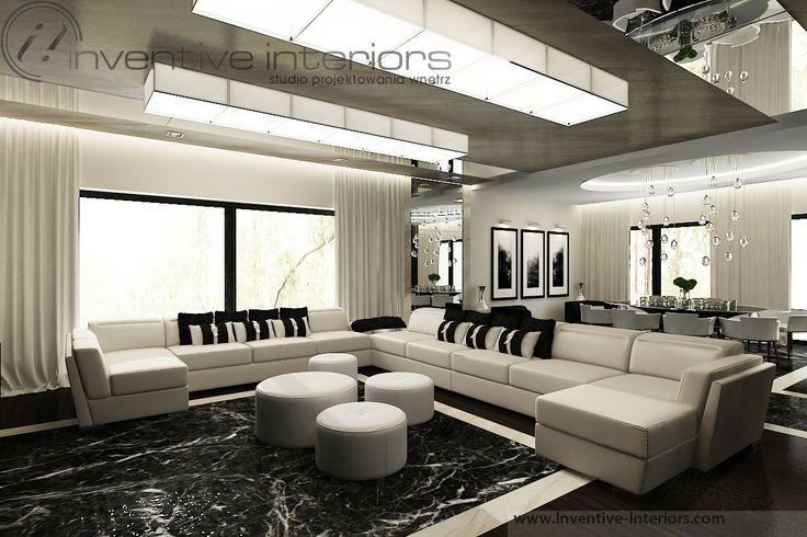 Projekt domu 140m2 Inventive Interiors - salon z czernią i beżem