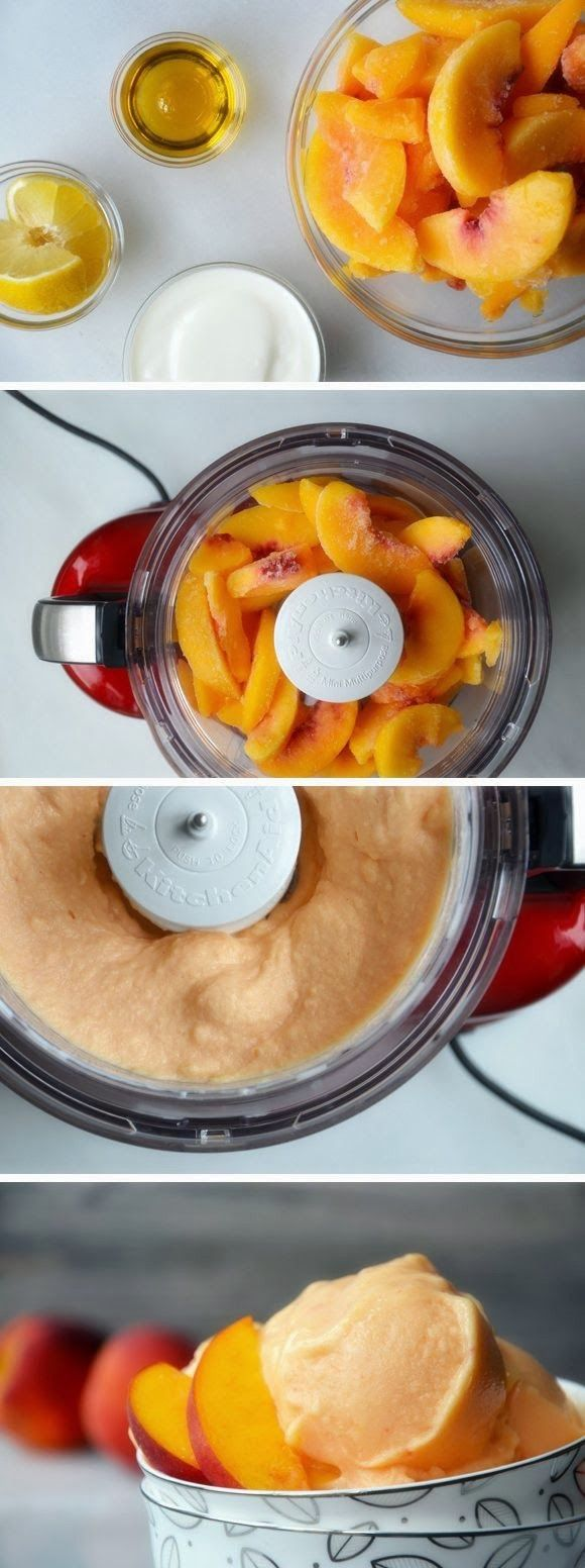 5-MINUTE HEALTHY PEACH FROZEN YOGURT RECIPE - Anna Things and Thoughts #vitamix Get FREE ground shipping on any blender purchase at Vitamix.com with code 06-006499