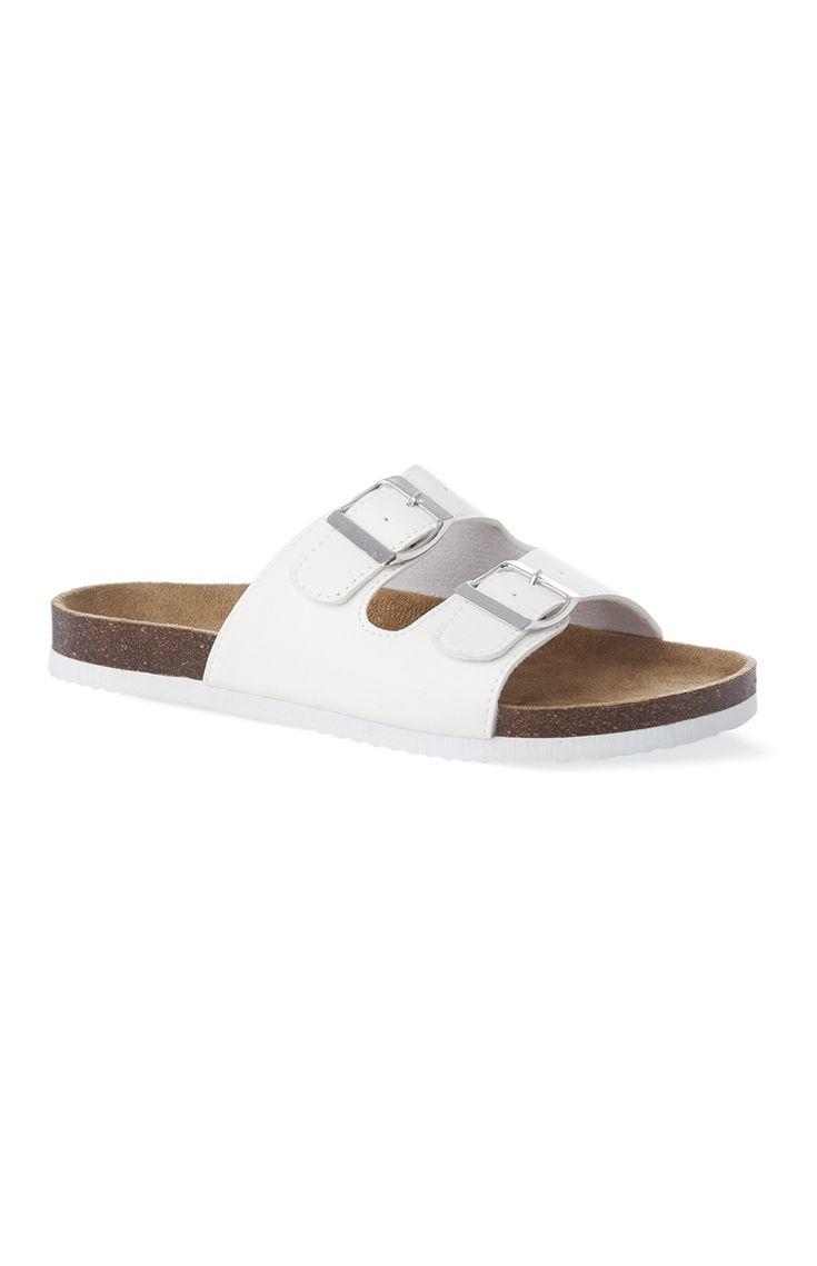Sandales blanches à deux brides
