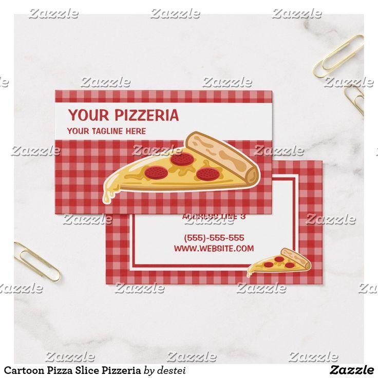 Cartoon Pizza Slice Pizzeria Business Card