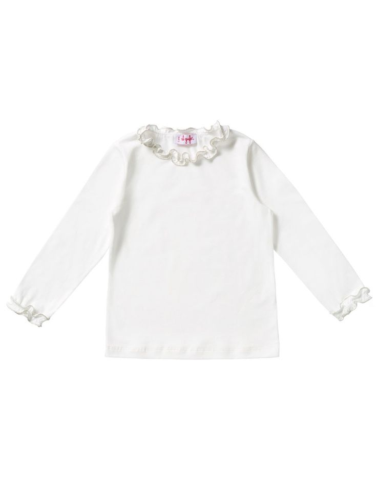 longsleeve t-shirt for girls with silver/gold curly border #ilgufo