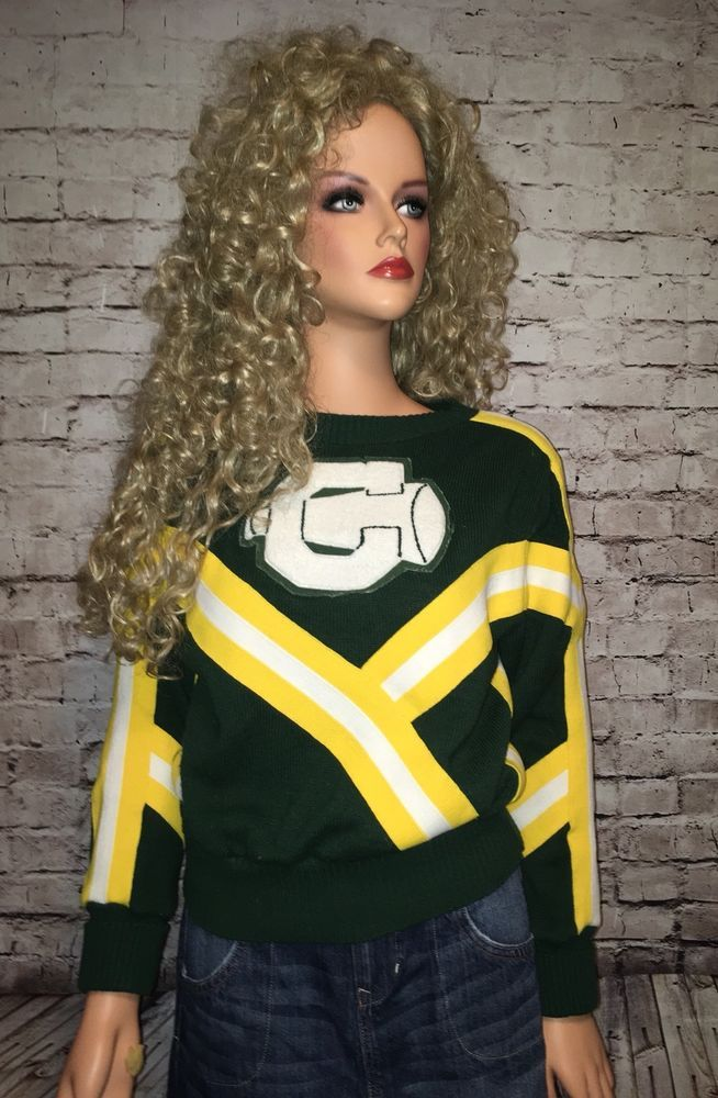 Vtg 70s 80s Varsity Sweater Cheerleader Megaphone Green Gold #nolabelfound #Outdoor