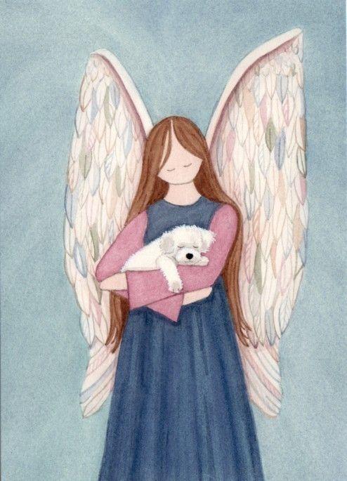 Bichon Frise acunada por angel / Lynch firmado por watercolorqueen