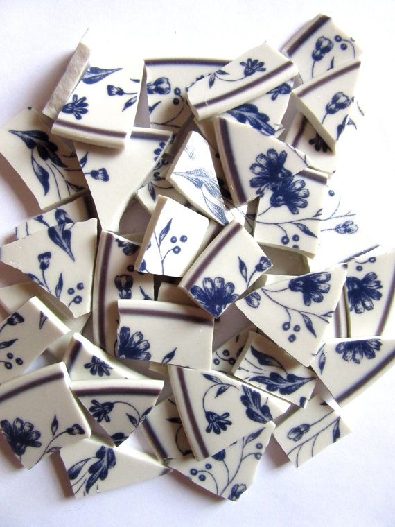 45 Blue and White Mosaic Tiles China Mosaic by ShiningEyeArts