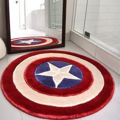 Captain America Rug / Rise up with the spirit of a superhero every morning as you stand on your very own Captain America Rug. http://thegadgetflow.com/portfolio/captain-america-rug/    I need this