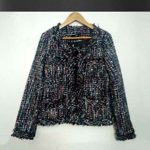 tweed jacket coat ladies autumn / winter new high-end small fragrant wind beaded jacket a generation Woolen coat vestidos