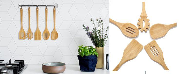 Bamboo Kitchen Cooking Utensils Set 5 Pcs Spoons Server Natural Wood Handmade   #KitchenUtensilCookingSets