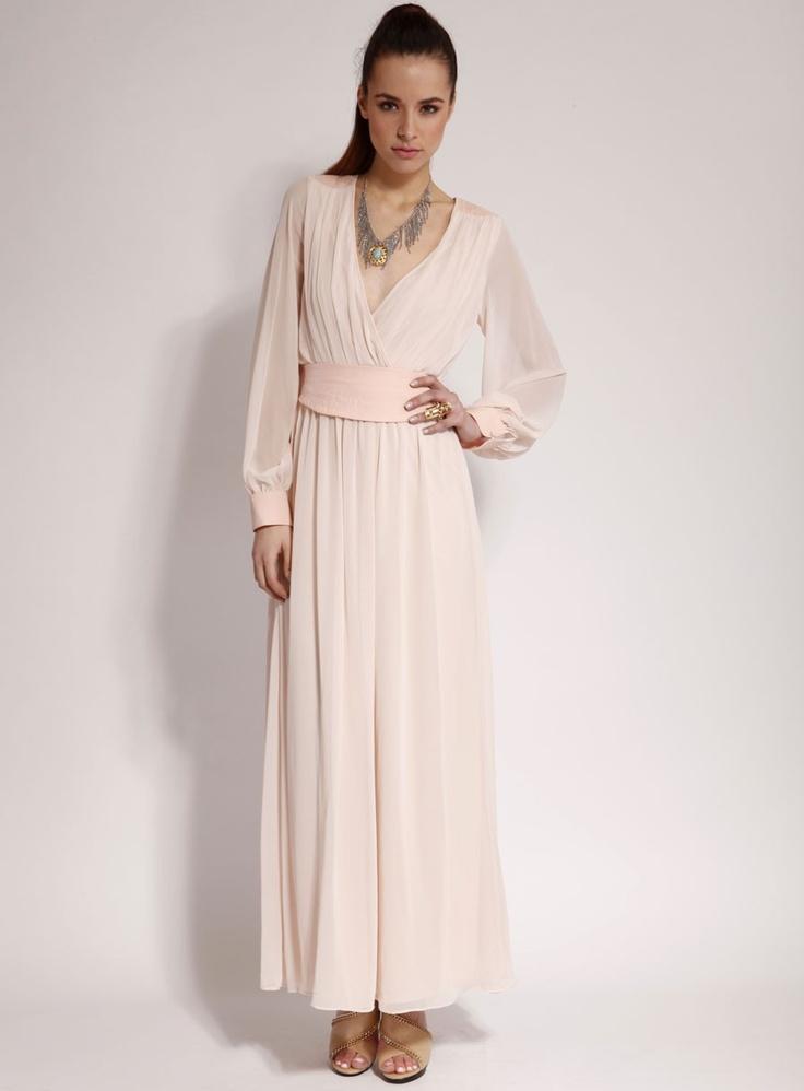 Long sleeve maxi bridesmaid dress wedding bridesmaids for Maxi dresses with sleeves for weddings