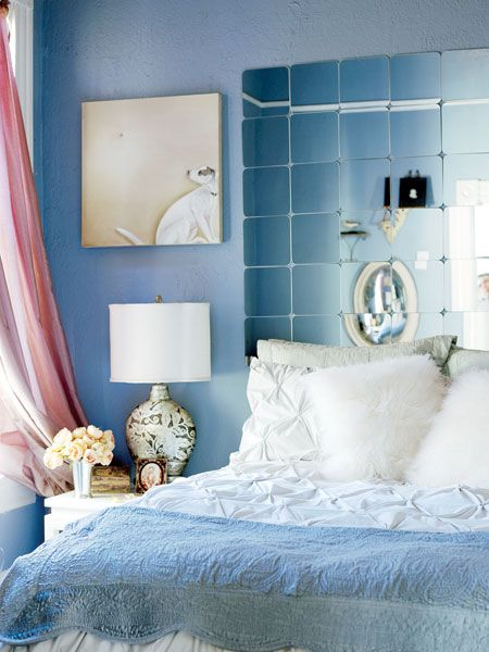 Mirror tiles stand in for a headboard: Bedrooms Lamps, Decor Ideas, Beds, Headboards Ideas, Blue Bedrooms, Diy Headboards, Mirror Tile, Mirror Headboards, Bedrooms Decor