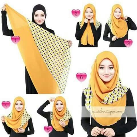 ... Hijab Tutorial Segi Empat on Pinterest | Hijab Tutorial, Gaya Hijab